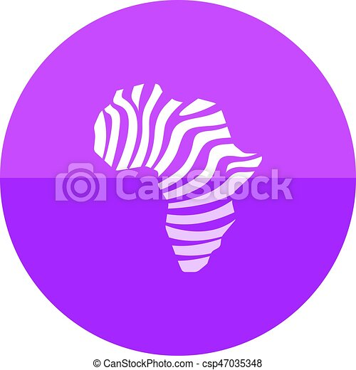 Circle icon - Africa map striped - csp47035348