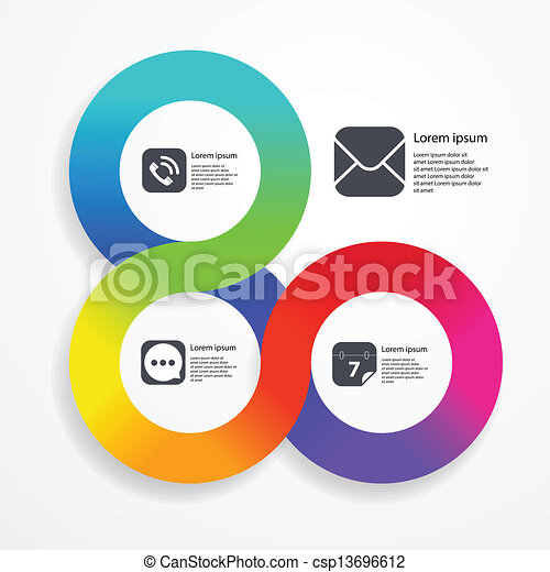 Circle infographic web template of color stripe - csp13696612