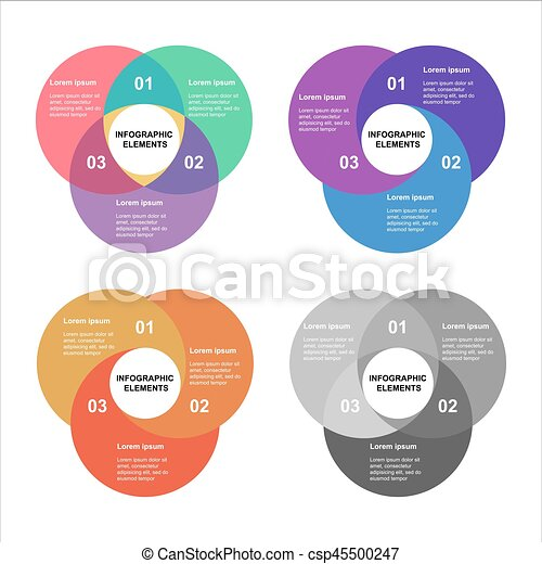 Circle infographics set. Template for diagram, graph, presentation and chart. Business concept with 4 options, parts, steps or processes. Abstract background. - csp45500247