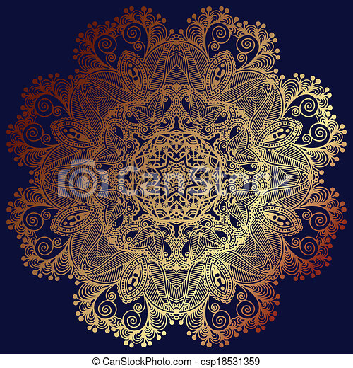 Circle lace ornament, round ornamental geometric doily pattern - csp18531359