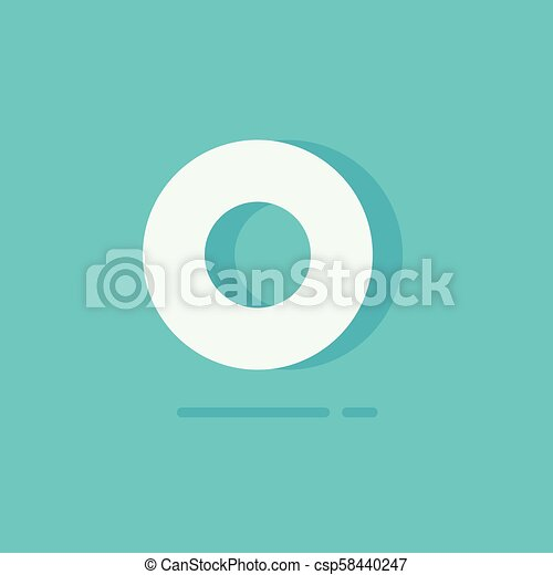 Circle logo vector, flat cartoon white round logotype isolated on blue background, concept of simple minimalistic rounded label, letter o or zero 3d shape clipart - csp58440247