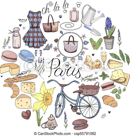 Circle Made Of Different Symbols Related To France Travelling And