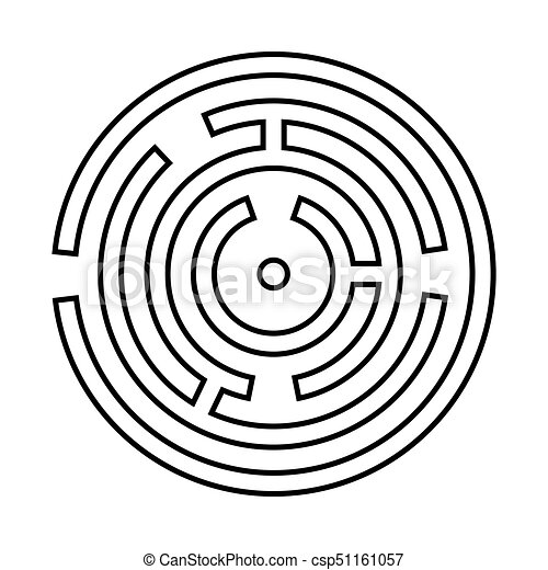 Circle maze or labyrinth it is black icon