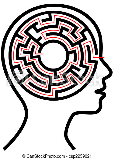 Circle Maze Puzzle as a Brain in Outline Profile - csp2259021