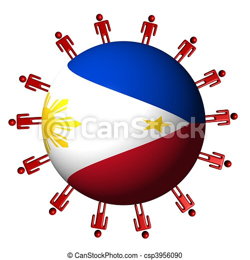 circle of abstract people around Philippine flag sphere illustration - csp3956090