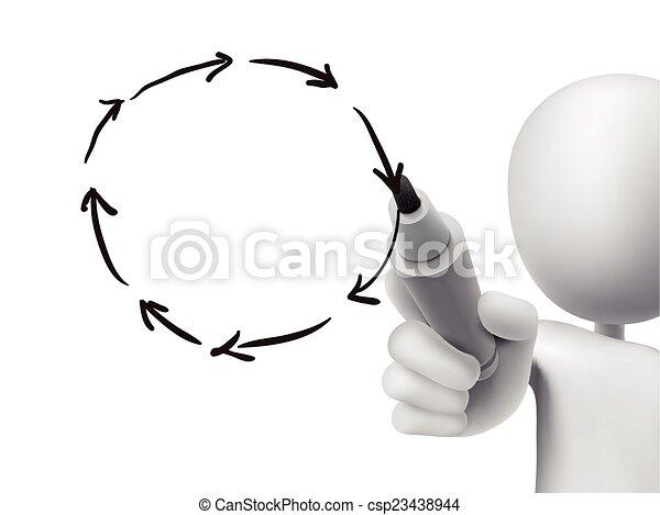 circle of arrows drawn by 3d man  - csp23438944