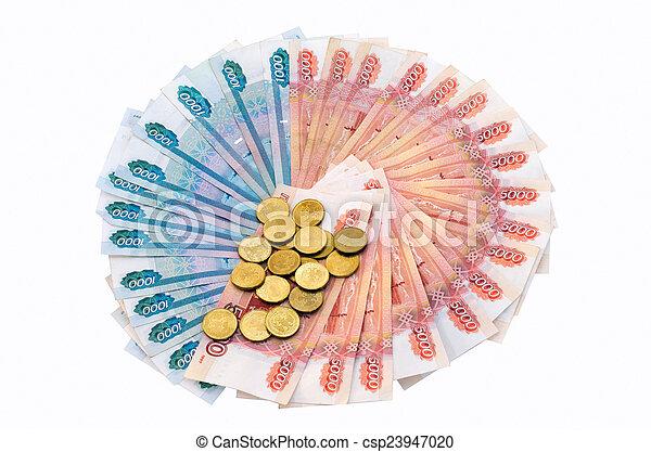 Circle of banknotes and coins - csp23947020