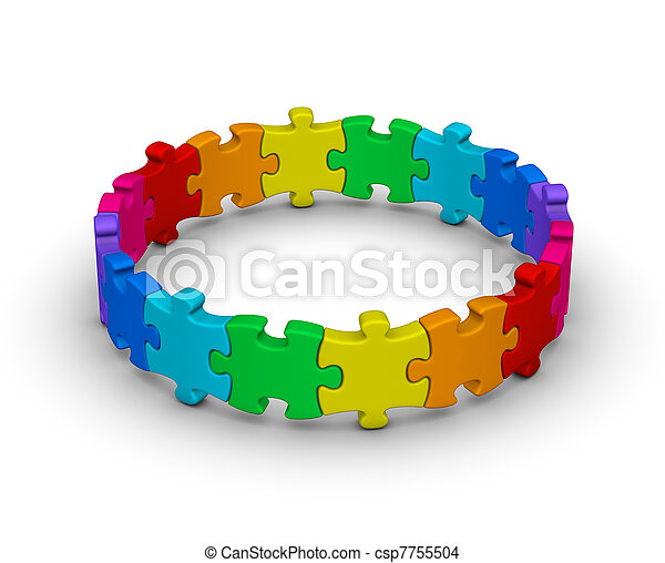 circle of colorful jigsaw puzzles - csp7755504