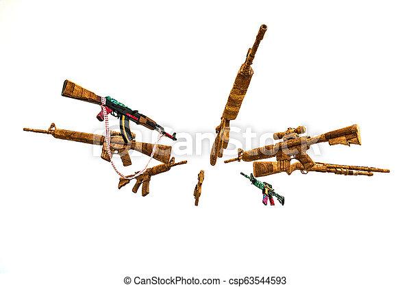 Circle of Fake AK Kalashnikov assault rifles hanging on white background - csp63544593