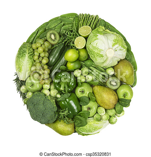 Circle of green fruits and vegetables - csp35320831