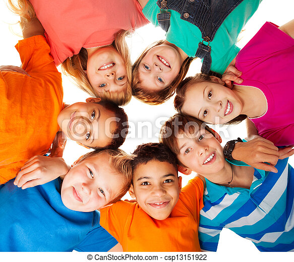 Circle of happy kids together smiling - csp13151922
