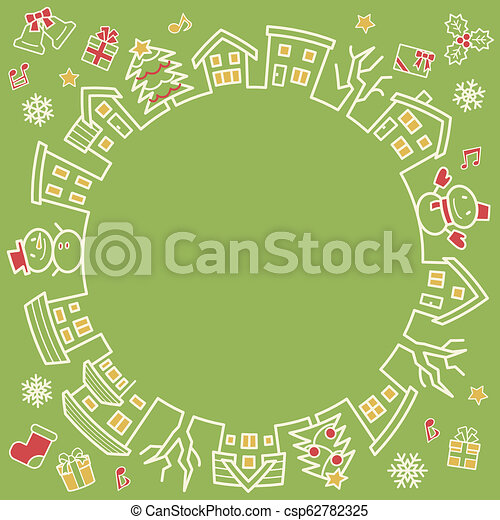 circle of houses and trees - line drawing and color - four colors Christmas version of green background - csp62782325