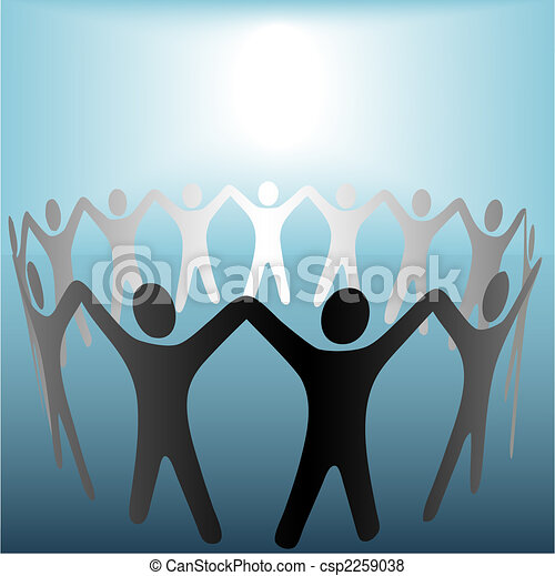 Circle of People Hold Hands Under Bright Copyspace Spot on Blue - csp2259038