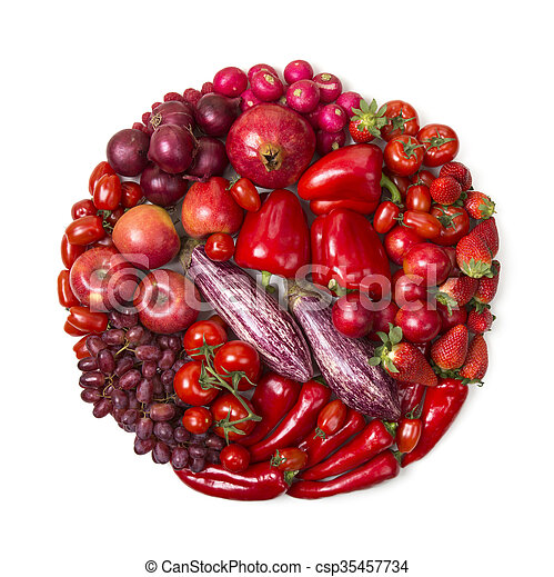 Circle of red fruits and vegetables  - csp35457734