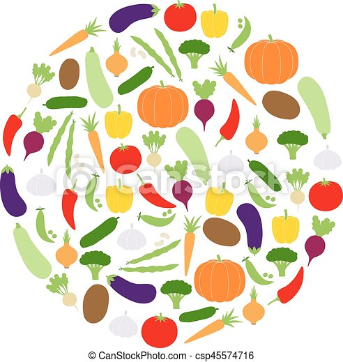 Circle of vegetables, vector illustration - csp45574716