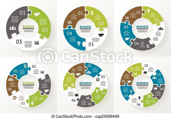 Circle puzzle infographic. Diagram, presentation. - csp24599449