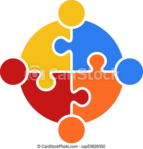 Circle Puzzle of Teamwork Logo Vector - csp53626350
