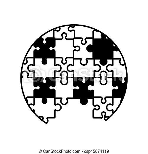 circle puzzle solution monochrome - csp45874119