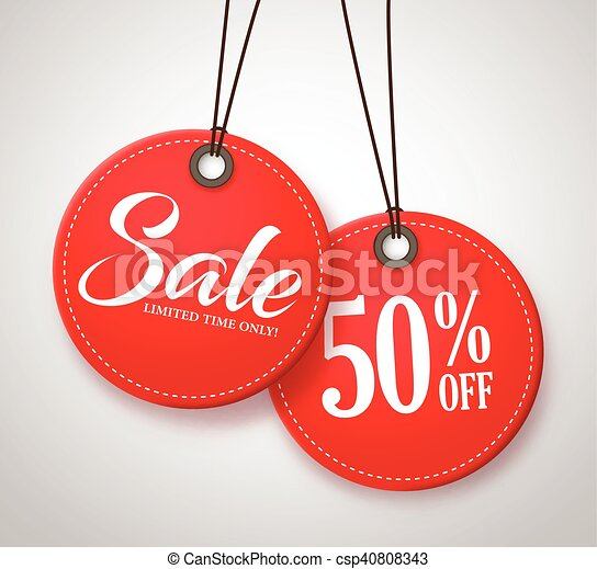 Circle Sale Tags Design with Price - csp40808343