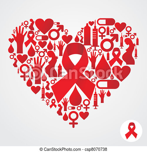 Circle shape with red AIDS icon set - csp8070738
