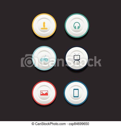 Circle web design button collection - csp84699650