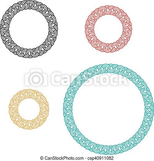 circle window and photo frame with ivy boarder - csp40911082