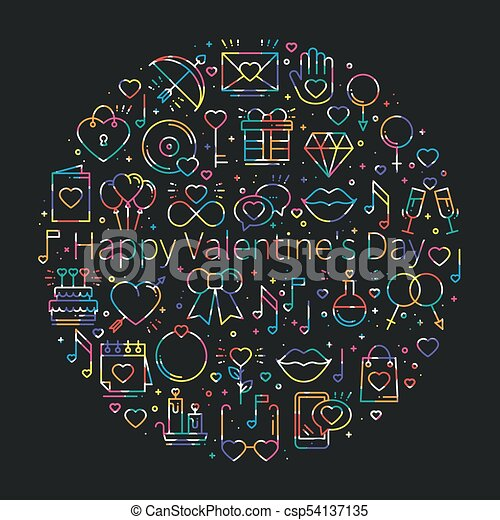 Circle With Love Symbols In Line Style Love Couple Vectors