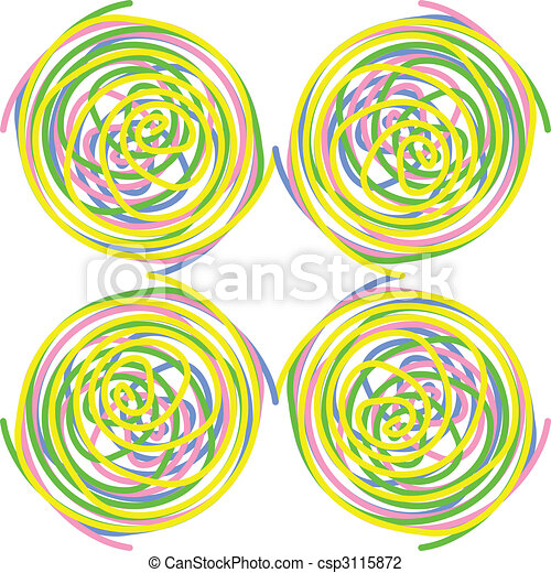 Circles made of colourful twisted spirals, seamless tile, vector - csp3115872
