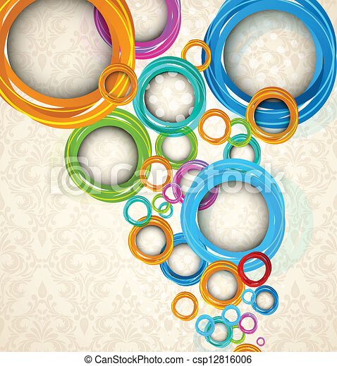 Circles on floral background - csp12816006
