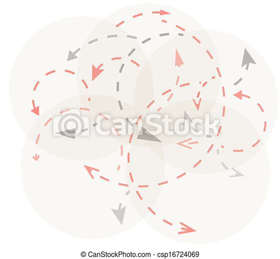 circles with gray and red arrows - csp16724069