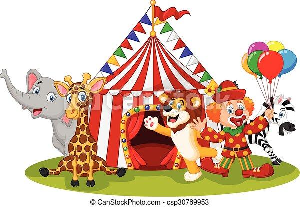 circo, caricatura, animal, feliz - csp30789953