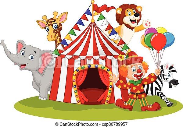 Circo cartone animato animale felice pagliaccio circo - Animale cartone animato immagini gratis ...