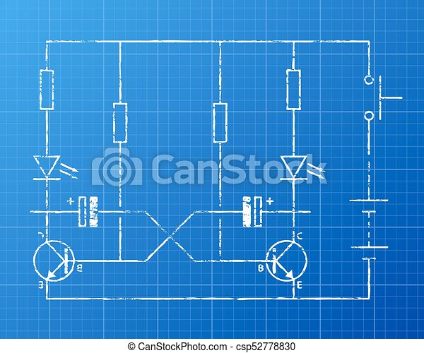 Circuit blueprint. Simple flip flop circuit hand drawn on blueprint ...