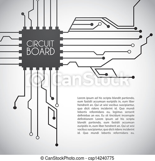 Circuit board design over gray background vector illustration .