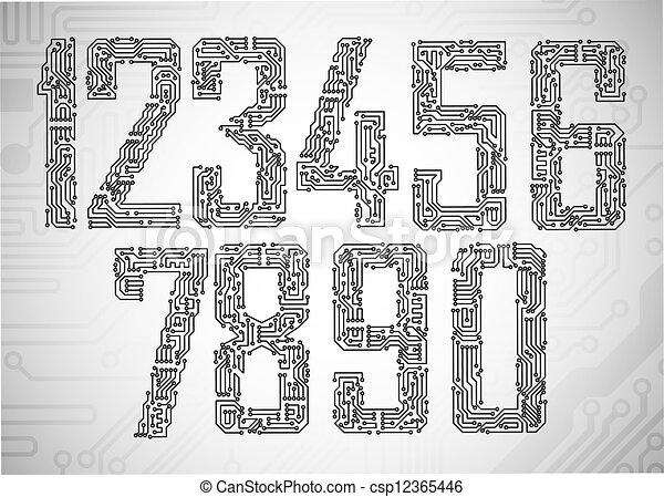 Circuit board digits - csp12365446