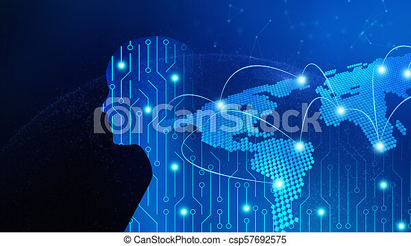 circuit board in man shape with world map high tech technology
