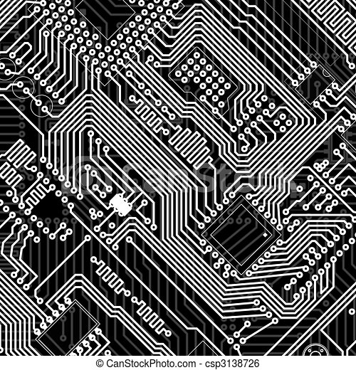 Circuit board industrial electronic monochrome background. Circuit ...