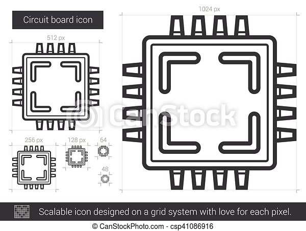 Circuit board line icon. Circuit board vector line icon isolated on ...