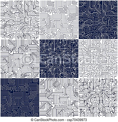 Circuit Board Seamless Patterns Set Vector Backgrounds Collection Microchip Technology Electronics Wallpaper Repeat Design