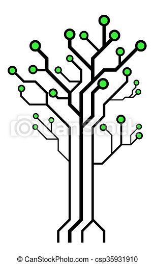 circuit board shaped tree technology tree isolated on white vector rh canstockphoto com electrical circuit board clipart circuit board design clipart