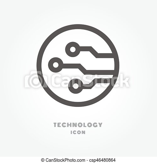 Circuit board, technology icon illustration isolated sign symbol ...