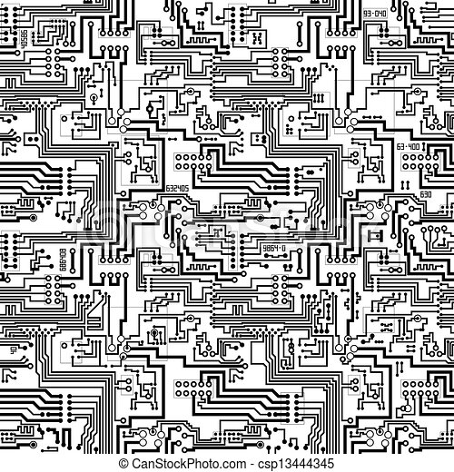 Circuit board vector seamless technological pattern. Circuit board ...