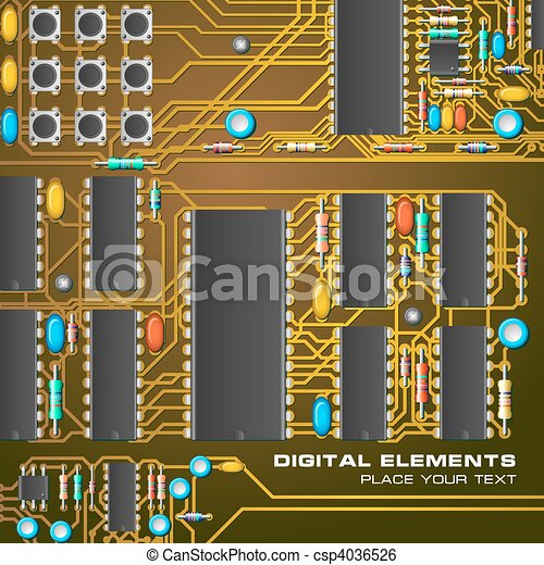 Circuit board with microchips clip art vector - Search Drawings and ...