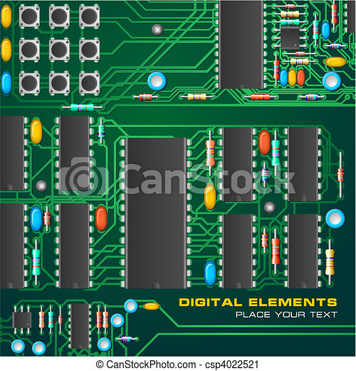 Circuit board with microchips vector clip art - Search Illustration ...