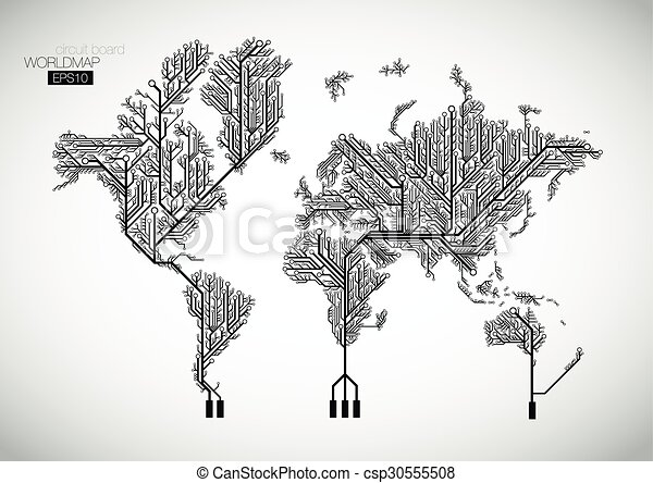 Circuit board world map vector background world map connected by circuit board world map vector background gumiabroncs Images