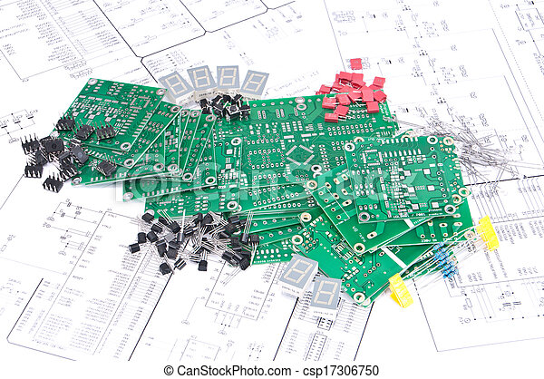 circuit boards and components with schematics in background circuit rh canstockphoto com