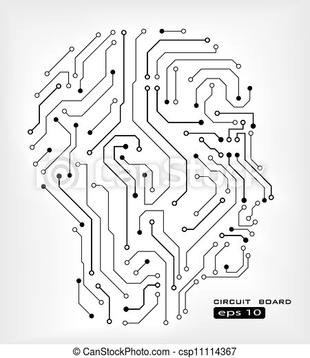 Circuit human head . Circuit abstract human head vector background.