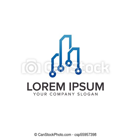 circuit technology building Architectural Construction logo design concept template - csp55957398
