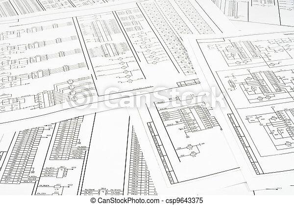 Antecedentes de varios circuitos eléctricos impresos en papel - csp9643375
