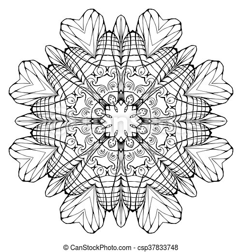 Circular Abstract Coloring Book Mandala,. Vector Element For Your  Creativity. CanStock